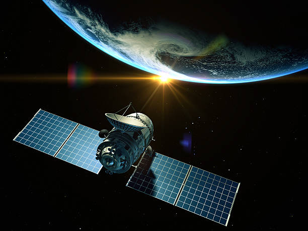 Satellite Satellite  is orbiting around the Earth satellite view stock pictures, royalty-free photos & images