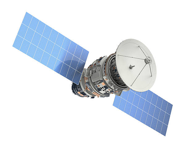 satellite 3d rendering satellite isolated on white satellite view stock pictures, royalty-free photos & images