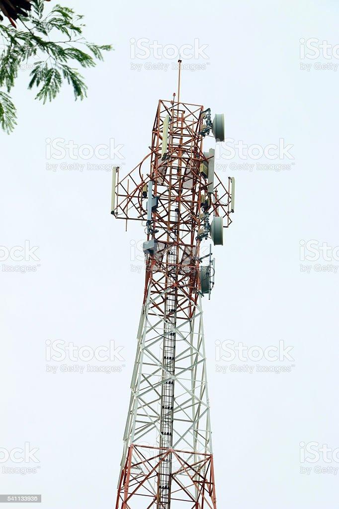 Satellite pillar base station.Satellite dish, stock photo