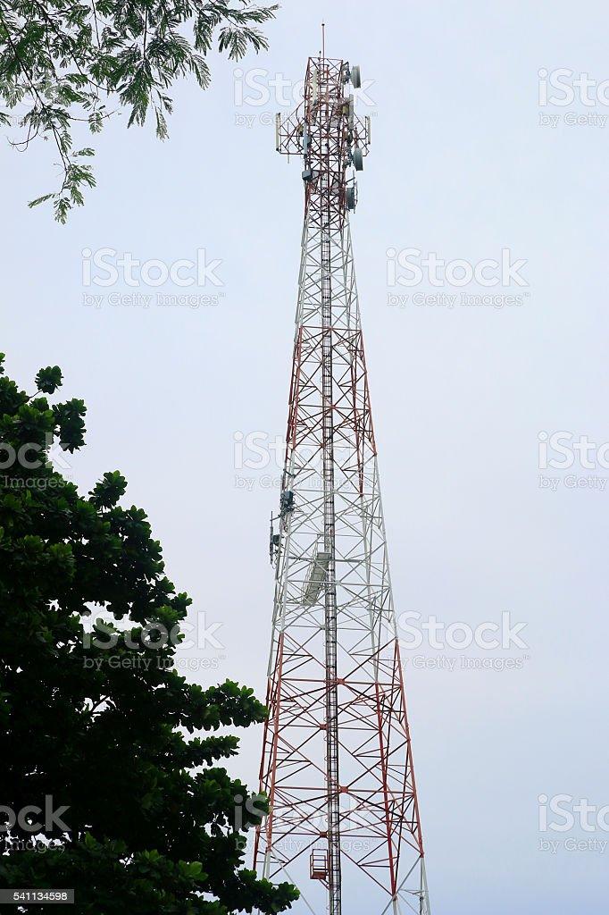 Satellite pillar base station.Satellite dish stock photo