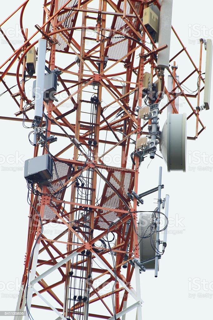 Satellite pillar base station.Satellite dish,Signal stock photo