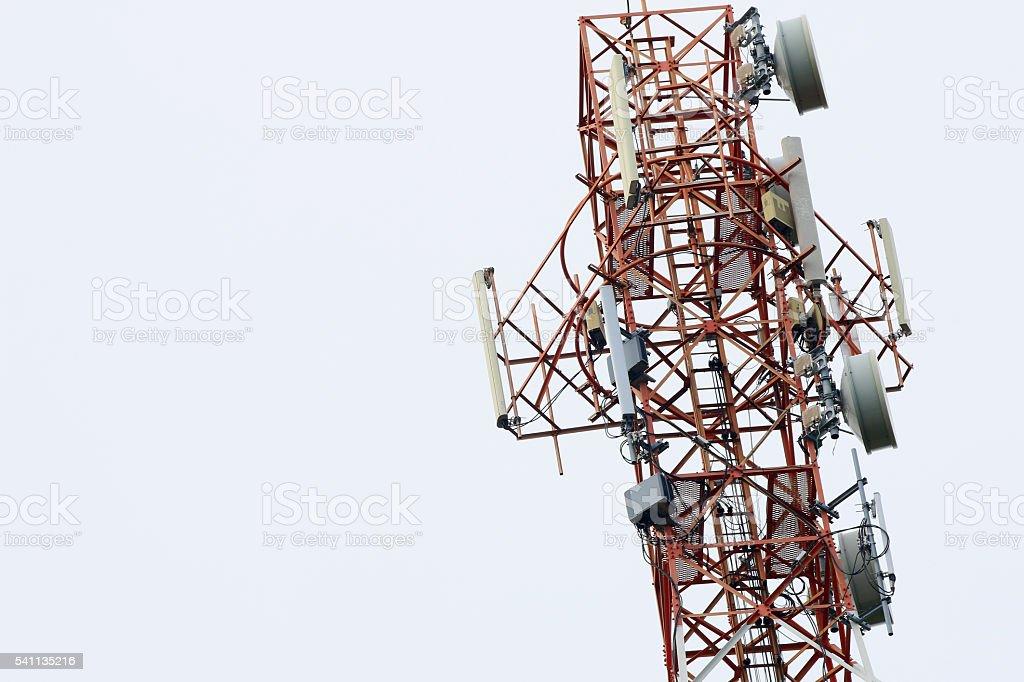 Satellite pillar base station.Satellite dish,Signal telecommunication base station stock photo