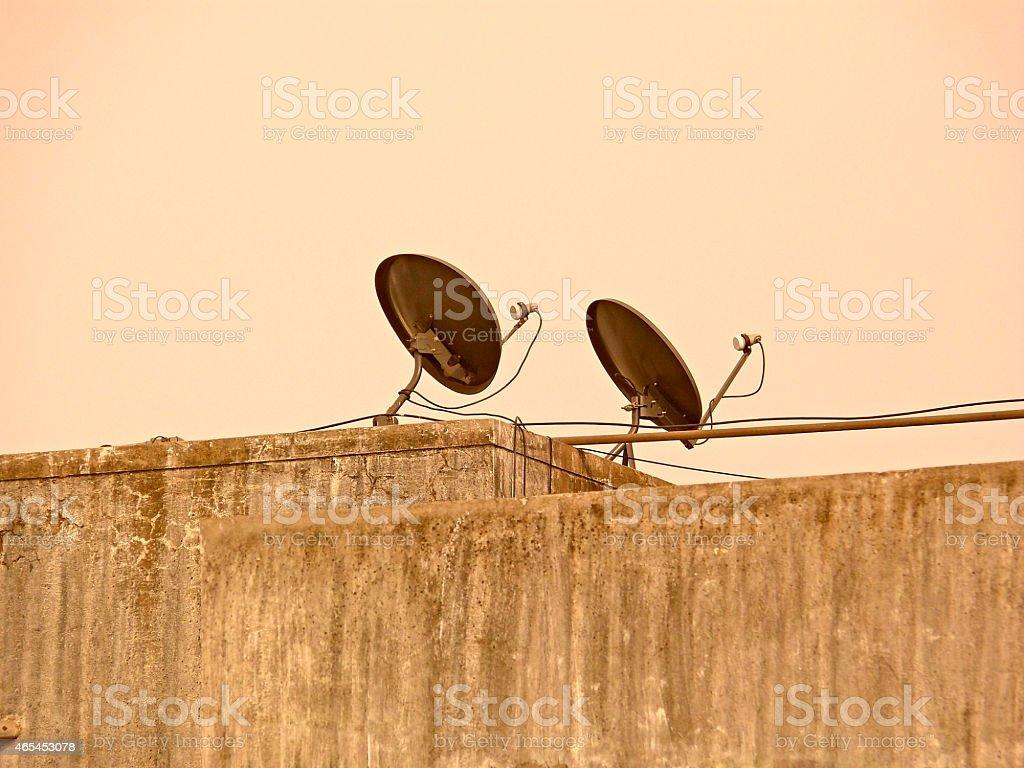 satellite receiver dish stock photo