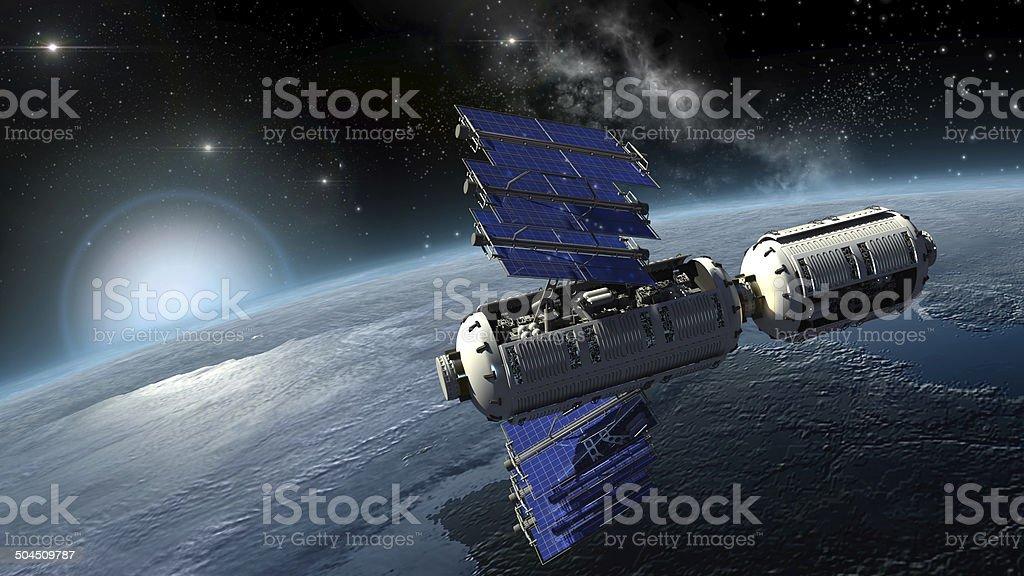 Satellite surveying Earth stock photo