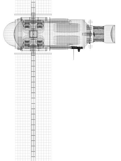 satélite techical desenho (vista superior - wireframe solar power imagens e fotografias de stock