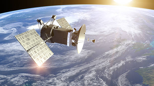 satellite under earth - satellite view stock pictures, royalty-free photos & images
