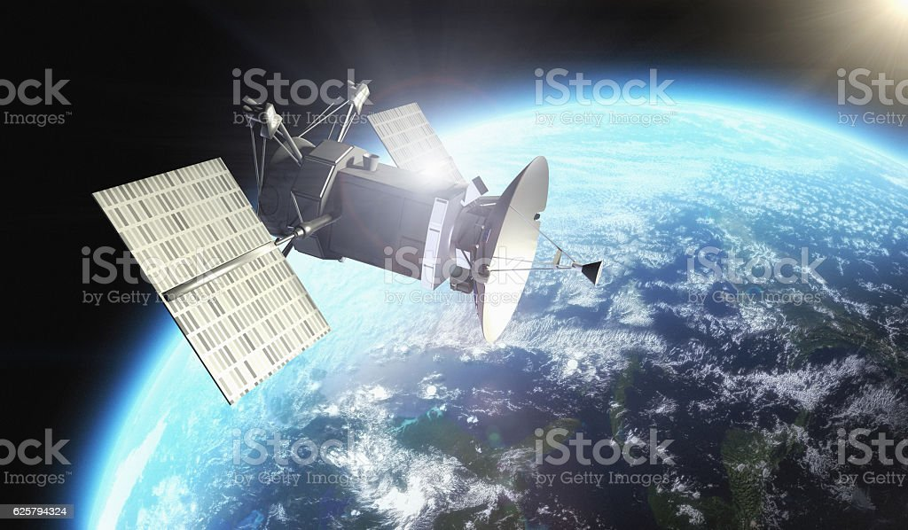 Satellite under Earth planet stock photo