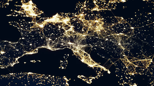 satellite view of europe - connections at cities (world map credits to nasa) - cartina italia foto e immagini stock