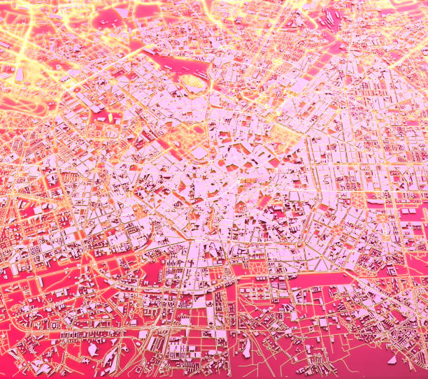 Satellite view of Milan, map, 3d buildings. Streets and skyscrapers of Milan, Lombardy, Italy. Night view stock photo