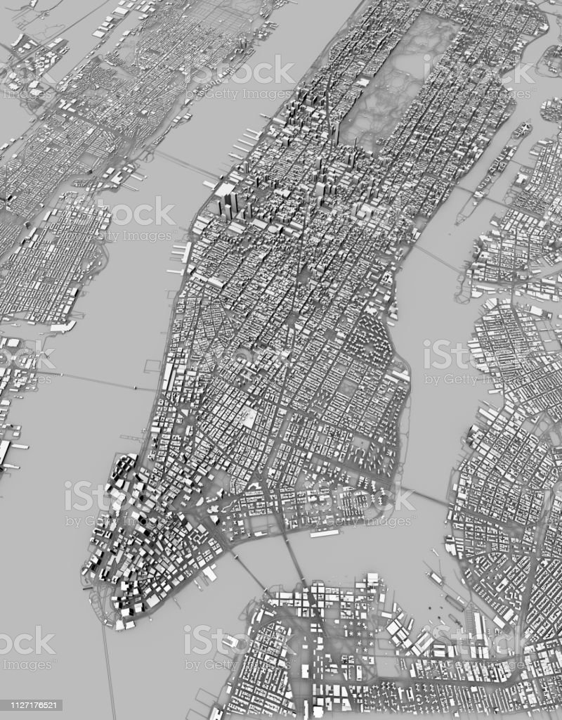 Map Of New York 3d.Satellite View Of New York City Map 3d Buildings Streets And