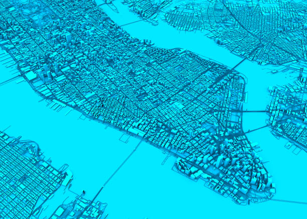 Satellite view of New York city, map, 3d buildings. Streets and skyscraper of Manhattan. Usa stock photo