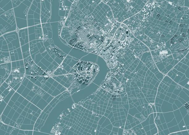 satellitenansicht von shanghai, stadtplan mit haus und gebäude. wolkenkratzer. china. volksrepublik china. 3 d gebäude - kartographie stock-fotos und bilder