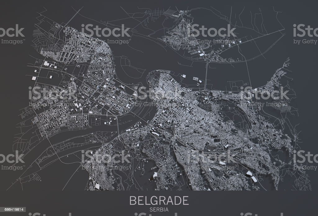Vue satellite de la ville de Belgrade, carte, Serbie - Photo