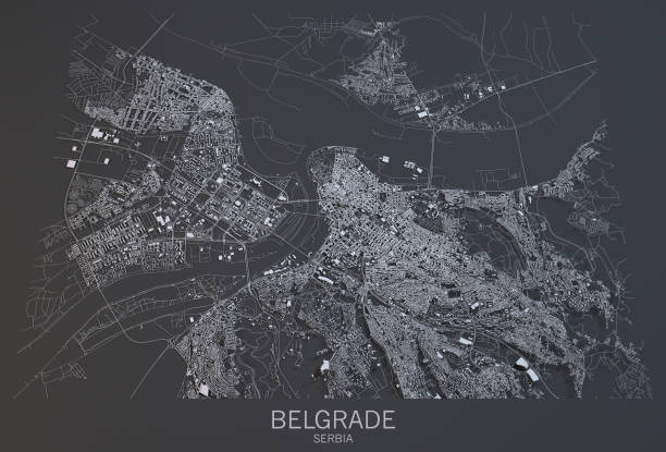 Satellite view of the city of Belgrade, map, Serbia Satellite view of the city of Belgrade, map, Serbia. 3d rendering belgrade serbia stock pictures, royalty-free photos & images