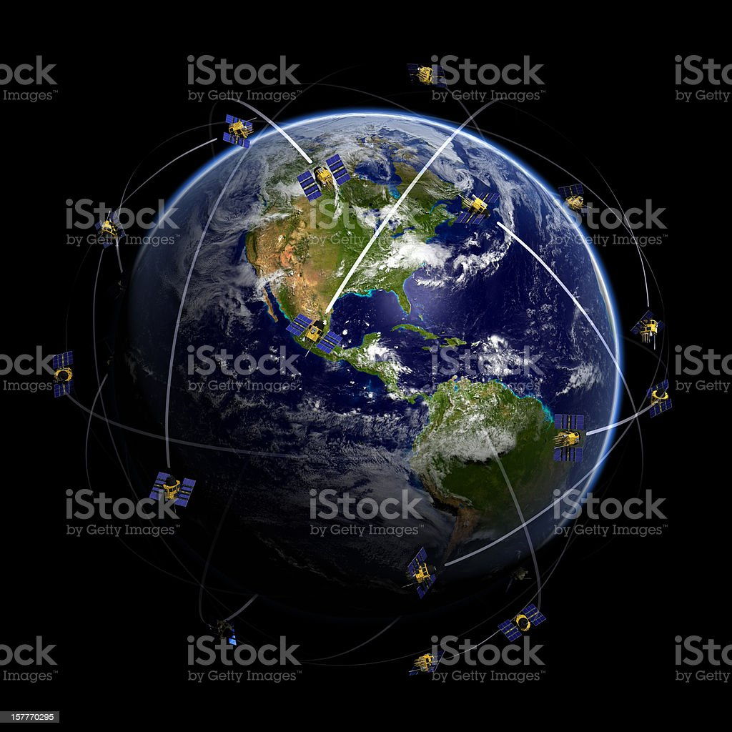 Satellites over world globe monitoring GPS localization stock photo