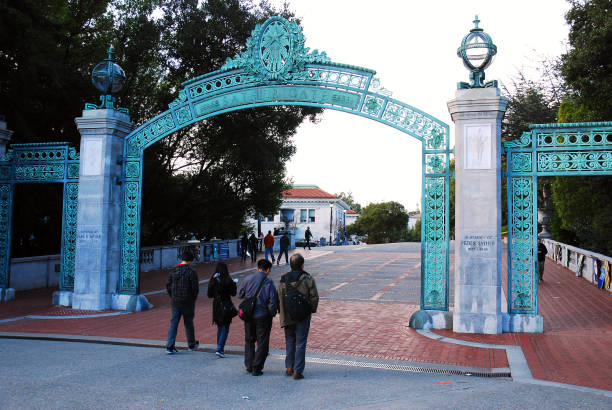 Sather Gates at Sproul Plaza, UC Berkeley stock photo