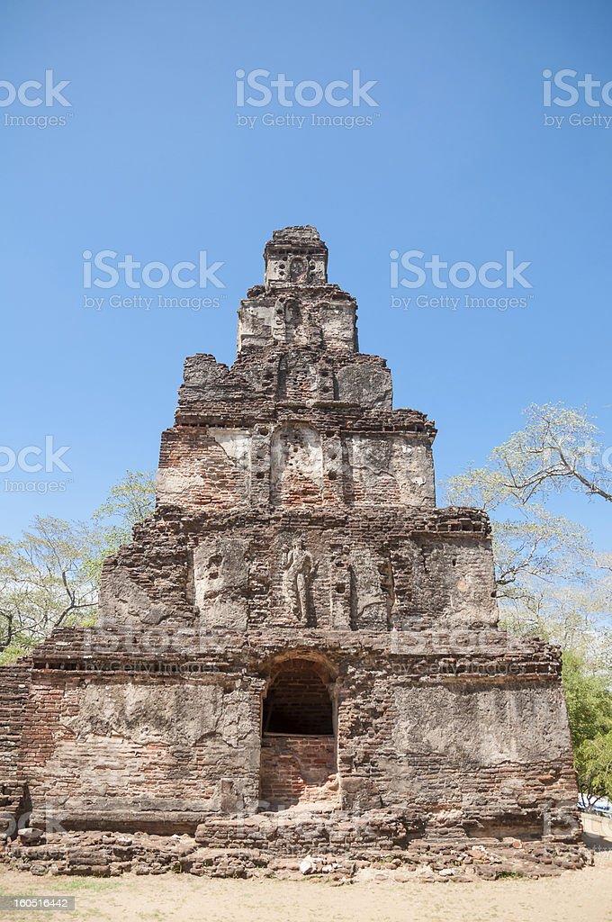 Sathmahal Prasada ruins in ancient city of Polonnaruwa, Sri Lanka royalty-free stock photo