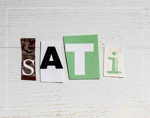 sati = achtsamkeit - kollagenblätter stock-fotos und bilder