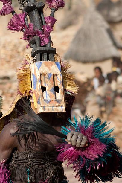 Satibe mask and the Dogon dance, Mali. stock photo