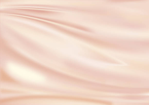 Satin fabric pink golden stock photo