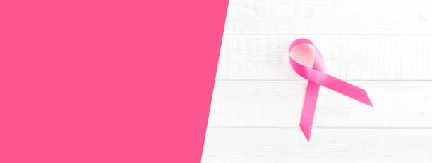beyaz ahşap panel, panoramik afiş arka plan kopya alanı ile saten pembe kurdele sembolü - breast cancer awareness stok fotoğraflar ve resimler