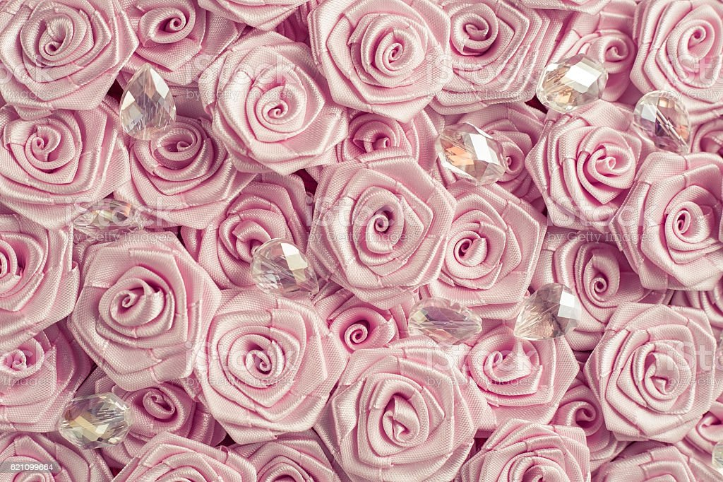 Satin roses and crystals stock photo