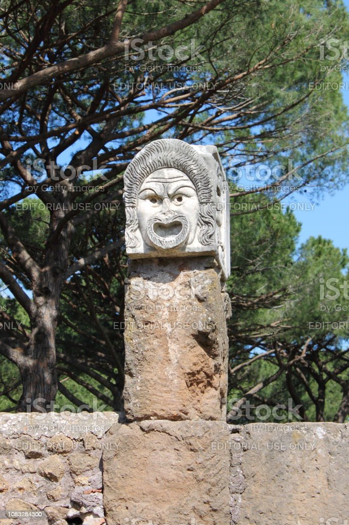 Satiric Mask In Ostia Antica The Old Harbour Of Rome Stock Photo