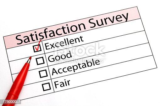 satisfaction survey with tick on excellent box