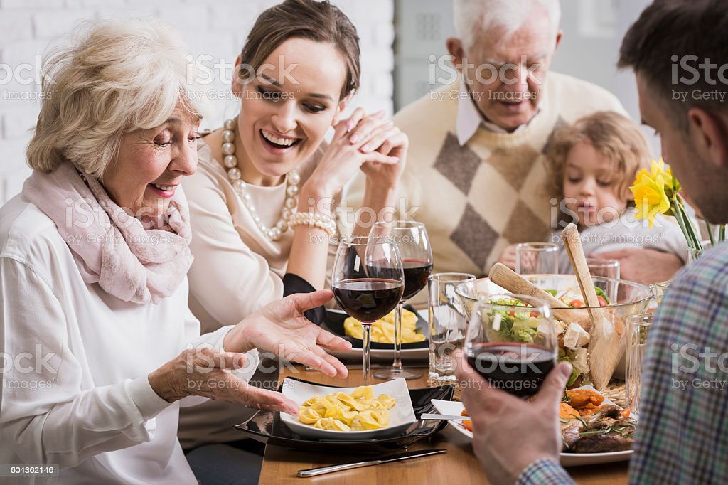 Satisfaction with the preparation of meals for loved ones stock photo