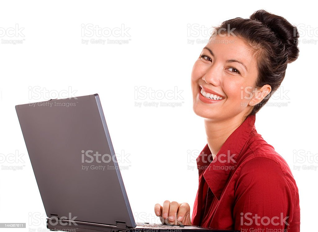 Satisfied Asian Woman With Laptop royalty-free stock photo