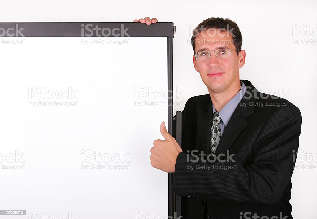 Satisfied business men at the whiteboard stock photo