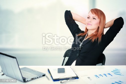 istock Satisfied businesswoman in the office 171572902