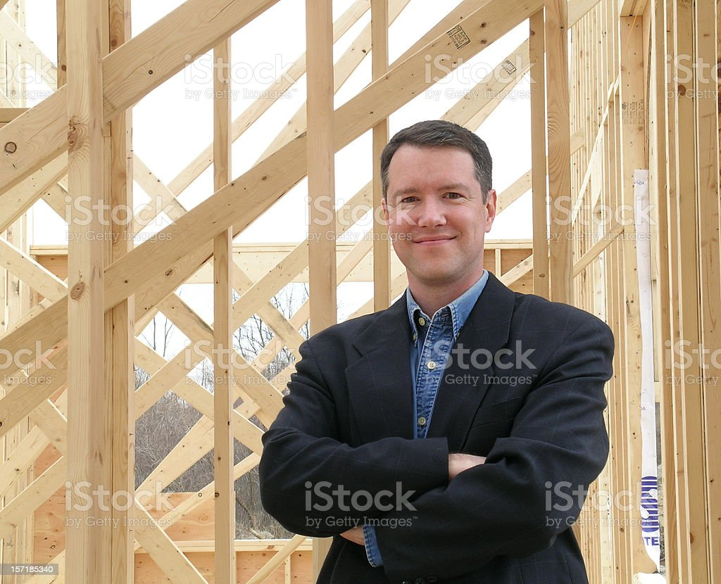 Satisfied homeowner stock photo