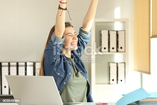 istock Satisfied intern raising arms at office 909948960