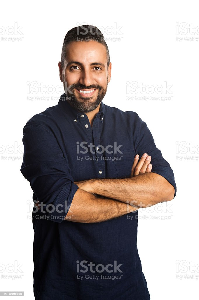 Satisfied man in blue shirt stock photo