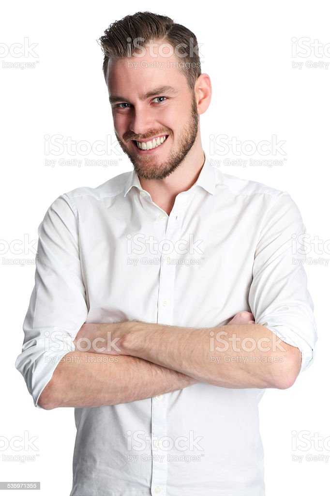 Satisfied man stock photo