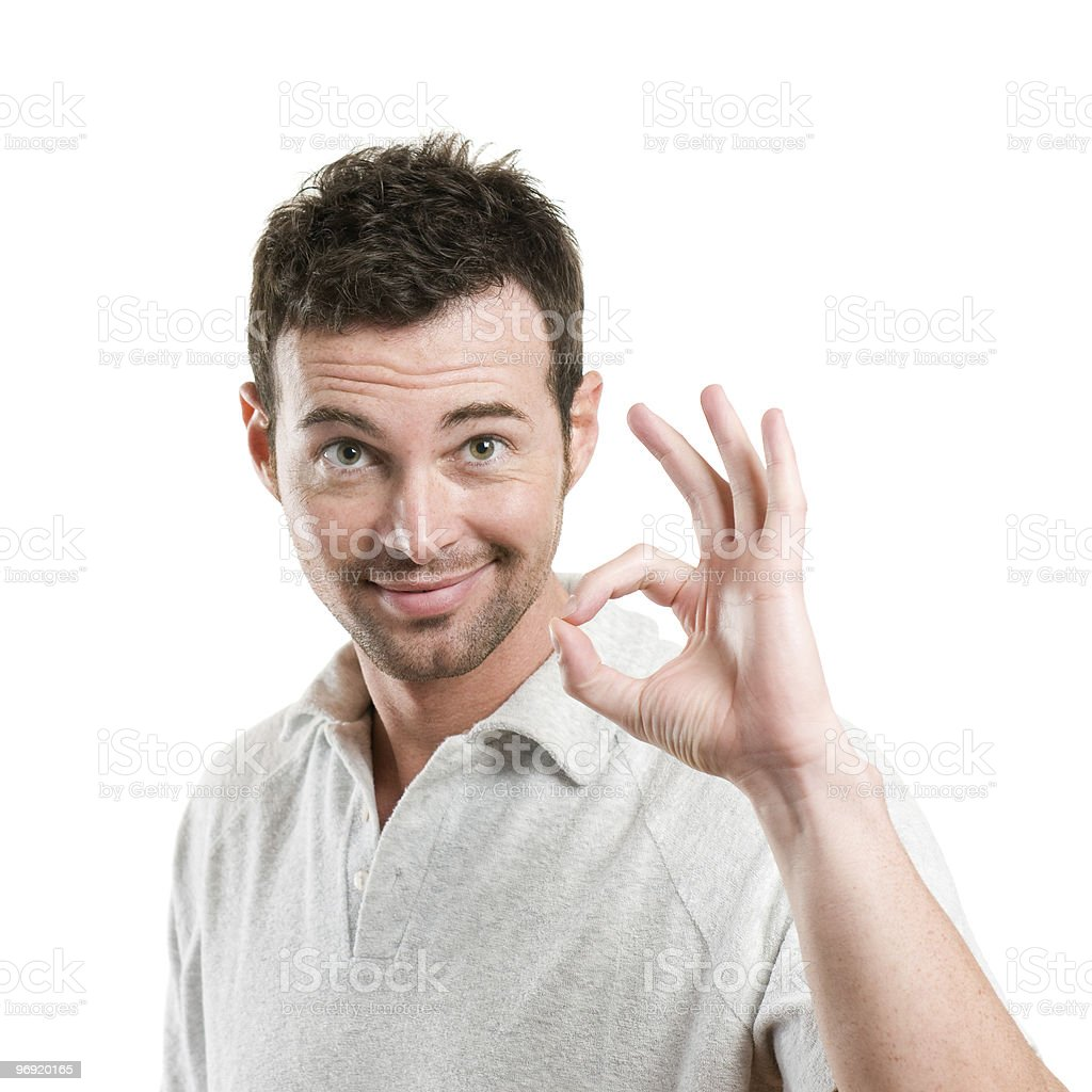 Satisfied man with okay sign royalty-free stock photo