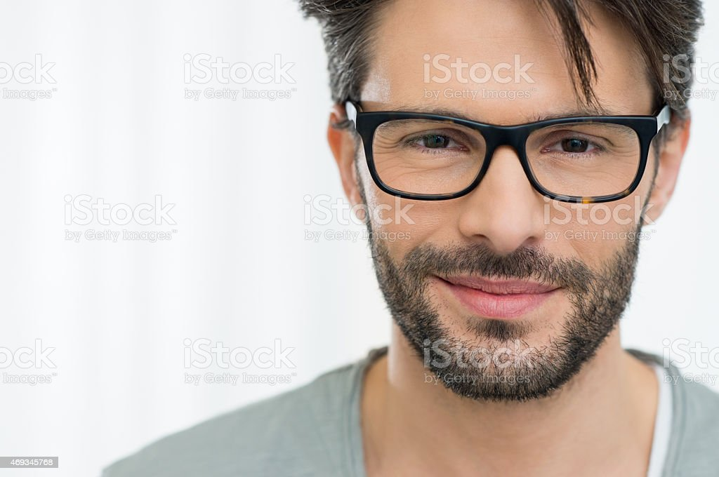 Satisfied man with spectacle stock photo