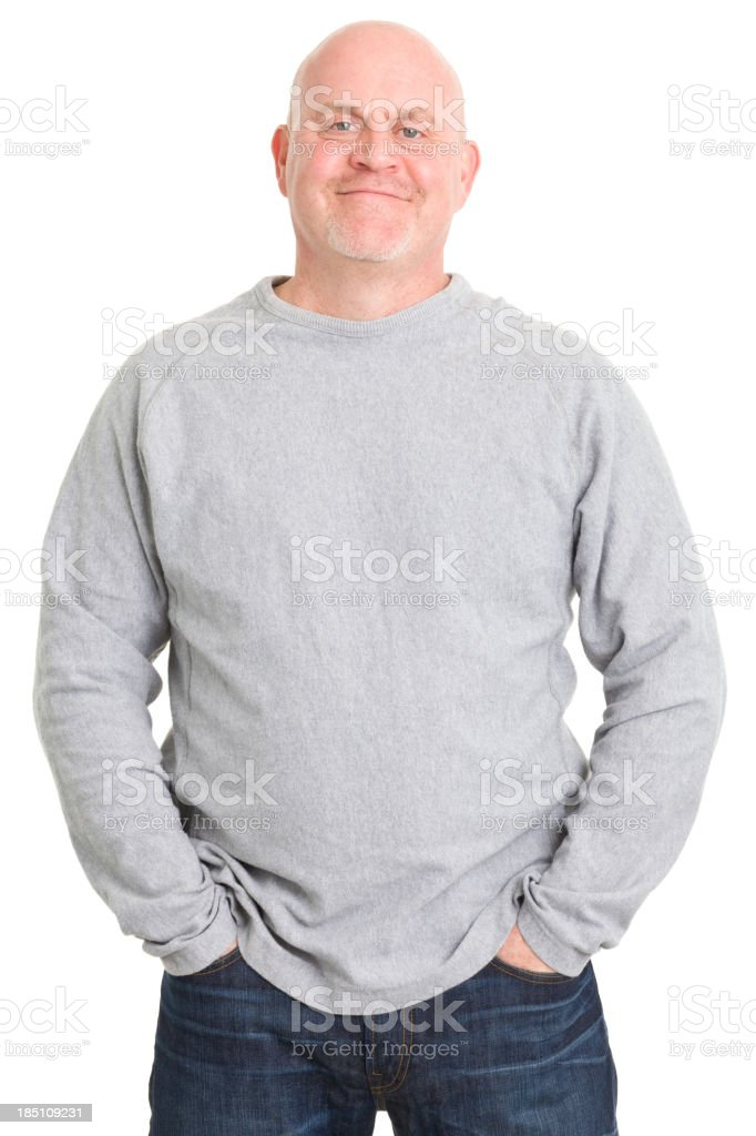 Satisfied Mature Man With Hands In Pockets royalty-free stock photo