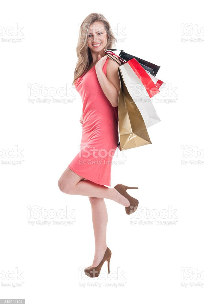 Satisfied shopping girl royalty-free stock photo