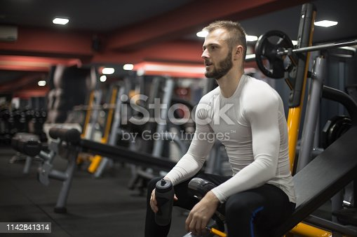 istock Satisfied with his work out. 1142841314