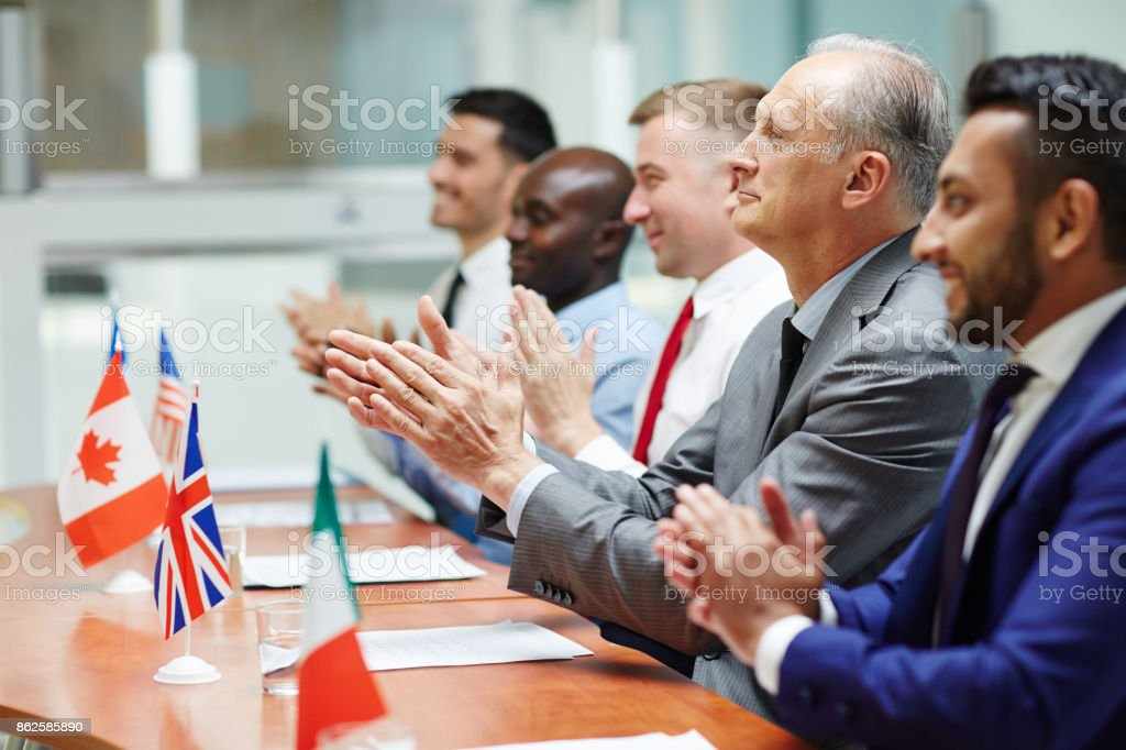 Satisfied with speech stock photo