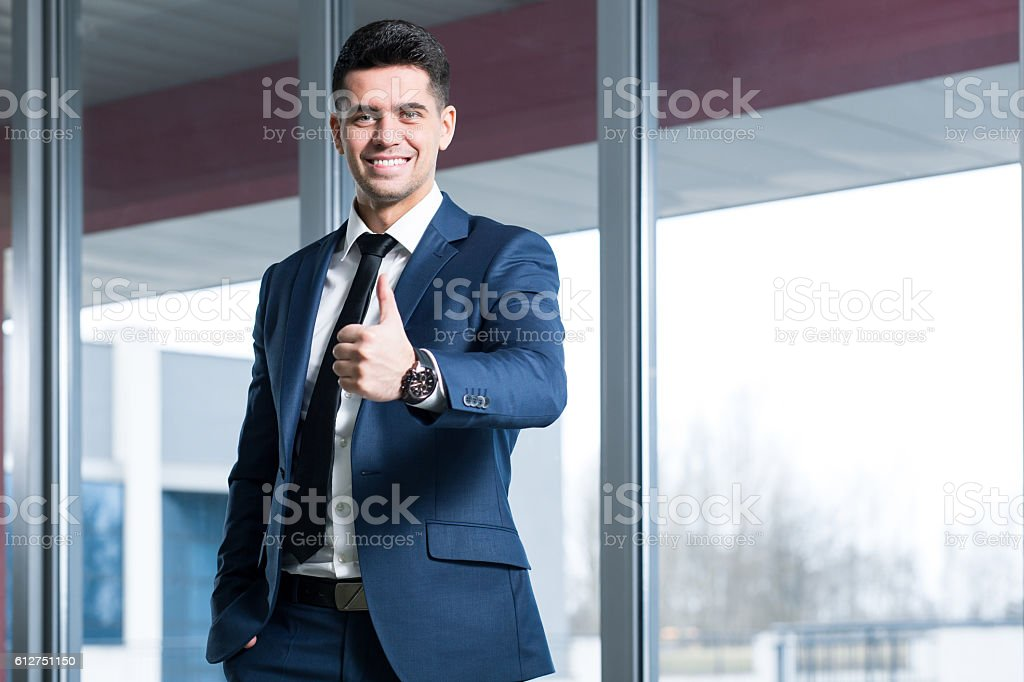 Satisfied with the actual results stock photo