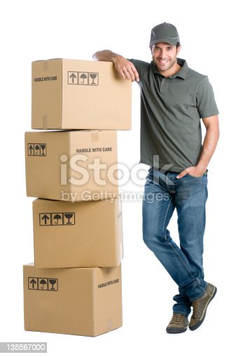 istock Satisfied worker with boxes 135567000