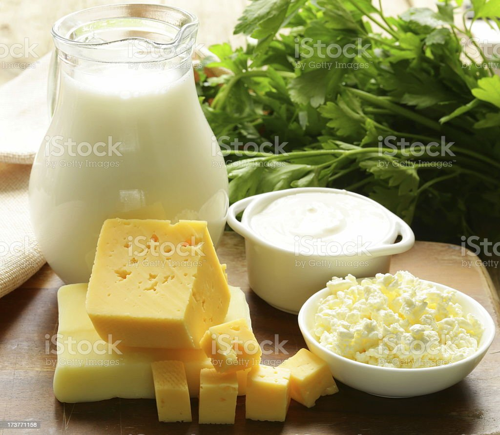 Satisfy all your dairy needs with milk and cheese stock photo