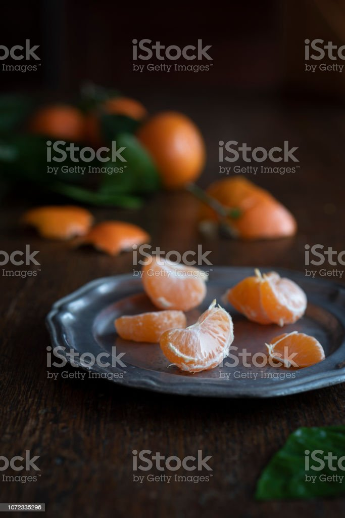 Satsuma Mandarins on an Wooden Table stock photo