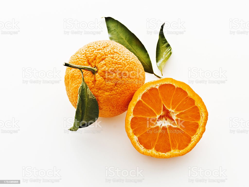 satsuma mandarins with leaves stock photo