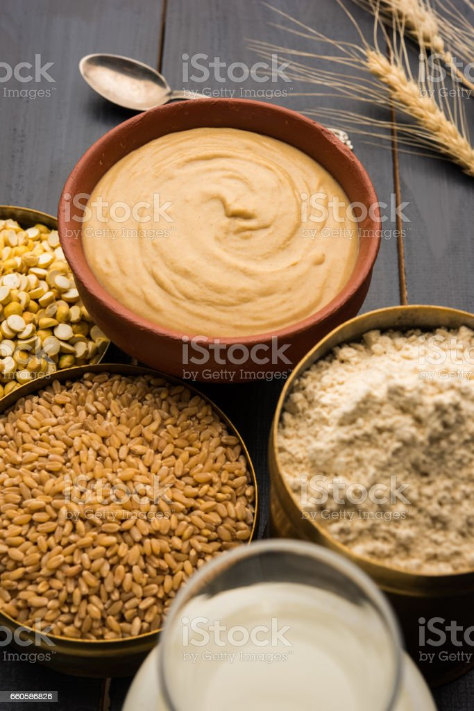Sattu Atta / Satu Peeth is one of the best natural and nutritionally rich food.It is made from dry roasted and puffed wheat and chana dal, a healthy breakfast drink from maharashtra, india royalty-free stock photo