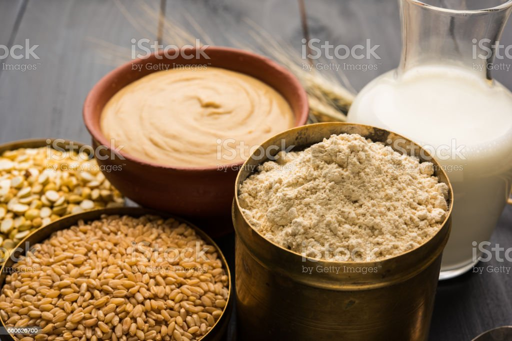 Sattu Atta / Satu Peeth is one of the best natural and nutritionally rich food.It is made from dry roasted and puffed wheat and chana dal, a healthy breakfast drink from maharashtra, india stock photo