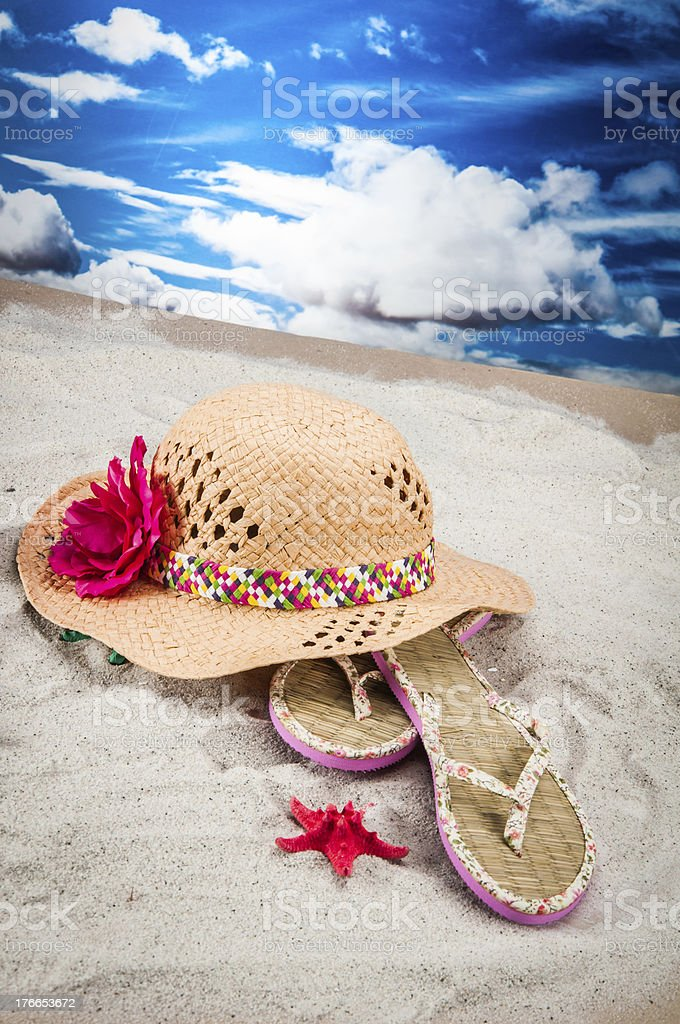 Saturated composition of beach, holidays concept royalty-free stock photo